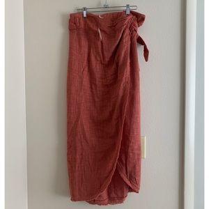 Free People Orange Wrap Midi Skirt Size Small